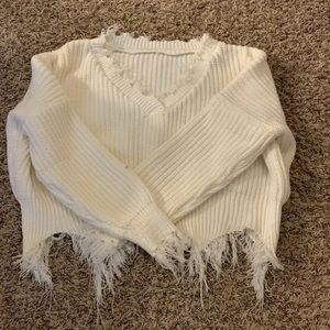 Tops - white cropped distressed sweater